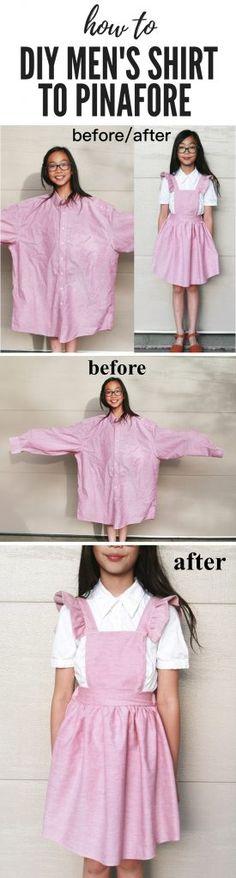 Men & # s shirt to pinafore dress refashion DIY Source by judinestone Diy Dress, Dress Outfits, Girl Outfits, Dresses, Apron Dress, Shirt Outfit, Thrift Fashion, Diy Fashion, Fashion Outfits