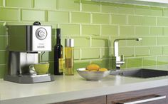 brick like wall tiles for kitchen in light green color