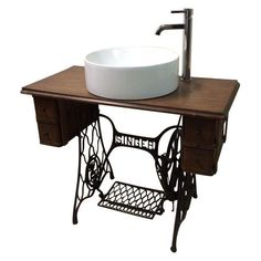 Image of Singer Sewing Table Converted Bathroom Sink Vanity