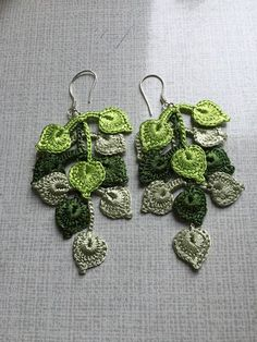 Feminine and stylish This pair of crochet earrings made polyester threads and sterling silver hooks.. Beautiful crochet earrings are handmade. Shades of green leaves pattern looks amazing. This design jewelry will be the wonderful gift for her, earrings are also perfectly suited to the