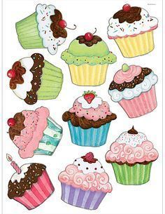 Cupcakes Accents from Susan Winget Cupcake Art, Cupcake Clipart, Diy And Crafts, Paper Crafts, Teacher Created Resources, Digi Stamps, Recipe Cards, Food Art, Creations