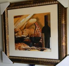 Framed Print New BREAD AND BOTTLE OF WINE Size Framed 20 x 20 inches