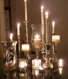 Mix and match mercury glass candle holders make a beautiful candlescape