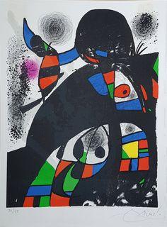 """""""San Lazzaro et Ses Amis"""" Litografía Joan Miró Año: 1975 Dimensiones: 35.5 x 26.5 cm Tirada 75 ejemplares Numerada y firmada a mano Certificada por la Fundació Joan Miró Mourlot 1080"""