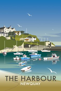 The Harbour (DT40) Beach and Coastal Print by Dave Thompson http://www.thewhistlefish.com/product/dt40f-the-harbour-framed-art-print-by-dave-thompson  #newquay