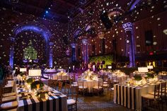 Wedding reception lighting inspired by the night sky