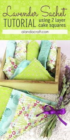 Easy to make lavender sachets. Make 4 lavender sachets using just two squares of fabric (or 2 Moda Layer Cake squares). Full step-by-step video instructions for this diy tutorial. Easy sewing projects for beginners. Easy Sewing Projects, Sewing Projects For Beginners, Sewing Hacks, Sewing Tutorials, Sewing Tips, Sewing Ideas, Free Tutorials, Quilt Tutorials, Sewing Crafts