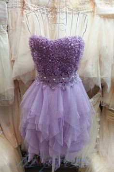 Lilac Homecoming Dress,2015 Homecoming Gown,Tulle Homecoming Gowns,Lace Party Dress,Strapless Prom Dresses,Ruffled Cocktail Dress,Formal Gown