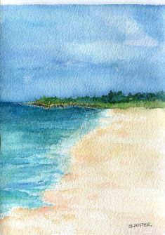 Aruba original watercolor paintingocean art by SharonFosterArt, $18.00