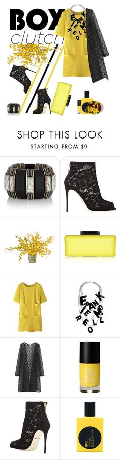 """bhalo + boxclutch"" by iraavalon ❤ liked on Polyvore featuring Lanvin, Dolce&Gabbana, The French Bee, Diane Von Furstenberg, WithChic, Frankie Morello, Cheeky, Comme des Garçons and bhalo"