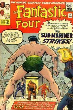 "Fantastic Four # 14 by Jack Kirby & Steve Ditko: See? Sue has ALWAYS wondered ""What's that Thing between Namor's legs?"""