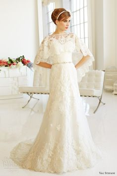 val stefani fall 2013 bridal strapless wedding dress d8041 lace capelet