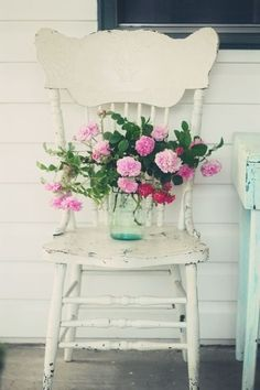 Summer scene.. old white chair and lovely pink flowers in a mason jar. love it!