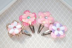 4PC Assorted Gingham Flower Baby Hair Clip Set, Toddler Hair Clip, Baby Hair Barrette, Baby Hairclip, Snap Clip, Kid Girl Hair Accessory by SpunkyBunny
