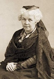 Elizabeth Cady Stanton (November 12, 1815 – October 26, 1902) was an American social activist, abolitionist, and leading figure of the early woman's movement. Her Declaration of Sentiments, presented at the first women's rights convention held in 1848 in Seneca Falls, New York, is often credited with initiating the first organized woman's rights and woman's suffrage movements in the United States.[