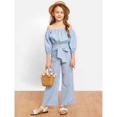 Shop Girls Off Shoulder Striped Top & Knot Pants Set online. SHEIN offers Girls Off Shoulder Striped Top & Knot Pants Set & more to fit your fashionable needs. Dresses Kids Girl, Cute Girl Outfits, Kids Outfits Girls, Teenager Outfits, Cute Outfits For Kids, Girls Pants, Girls Fashion Clothes, Fashion Outfits, Trending Clothes For Girls