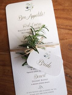 Calligraphy & Olive Menu Set calligraphy menus for rustic, outdoor or quirky weddings. Rustic Mediterranean Wedding Menu & Place Name. Wedding Table Names, Wedding Menu Cards, Wedding Stationary, Wedding Signs, Italian Wedding Invitations, Wedding Ceremony, Wedding Name Tags, Wedding Places, Destination Wedding