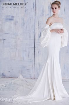 Satin mermaid beach wedding gown with frothy sleeves