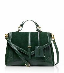 Tory Burch Suede and Leather Large 797 Satchel in Pine