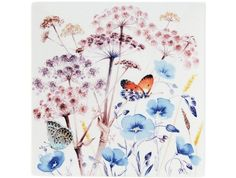 Giens - Azur: 1 Coupe carrée n°2 Butterfly Illustration, Elegant Table, Dinnerware, Birthday Cards, Artisan, Watercolor, Butterflies, Painting, Plates