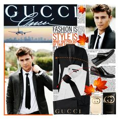 """""""Zac Efron"""" by reka97 ❤ liked on Polyvore featuring Guide London, Gucci, tie, gucci, perfumes, trousers, robert pattinson, suit, orange and white"""