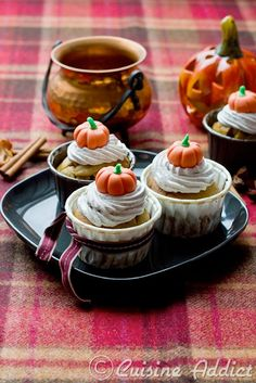 Pumpkin & Chocolate Chip Cupcakes Recipe with Cinnamon Butter Cream Topping. #Halloween #Cupcakes