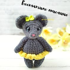 This sweet crochet mouse is a cute gift or a soft toy for kids. The height of finished amigurumi toy is about 26 cm. You'll need mm crochet hook and Alize yarn. Crochet Frog, Crochet Gratis, Crochet Mouse, Crochet Bear, Crochet Animals, Free Crochet, Amigurumi Doll Pattern, Crochet Amigurumi Free Patterns, Diy Accessoires
