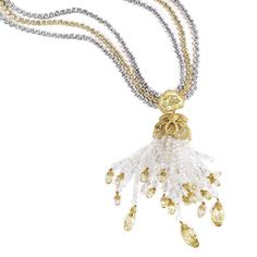 Introducing LEVIEV's latest creation, a Fancy Yellow and White Diamond necklace totaling 171.71 carats.