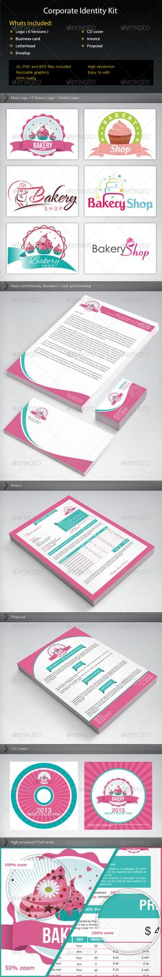 Corporate Identity Pack  #GraphicRiver        Bakery Items Corporate Identity Pack  HTML template related to this niche of business suitable for this corporate identity is available, check it out.