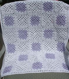 Baby Blanket - Lilac on White Granny