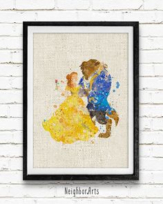 Beauty and the Beast Watercolor Print Belle Disney by NeighborArts