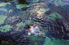 Riviera Maya trash the dress shoot with a gorgeous bride and groom in a cenote. Mexico wedding photographers Del Sol Photography.