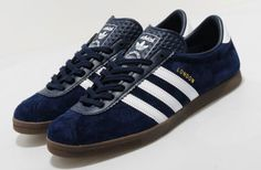 18f62a168b3 Adidas London trainers reissued in navy blue suede