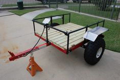 DIY Harbor Freight Trailer Inspiration - Go Travels Plan Lawn Trailer, Quad Trailer, Camping Trailer Diy, Kayak Trailer, Off Road Trailer, Utility Trailer, Diy Camping, Trailer Build, Jeep Camping