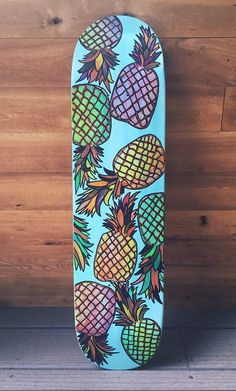 Pineapple Skateboard Deck by LavaBoards on Etsy <---- this is cool. Saving for jeison Skateboard Deck Art, Skateboard Design, Painted Skateboard, Custom Skateboard Decks, Surfboard Art, Skates, Longboard Design, Skate Art, Cool Skateboards