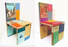 Book Furniture, Paper Furniture, Simple Furniture, Modern Furniture, Furniture Design, Furniture Ideas, Outdoor Furniture, Home Bar Designs, Unique Lighting