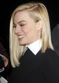 Margot Robbie 23 Flawless: The young star had her blonde locks in a razor straight style and wore minimal makeup on her flawless complexion