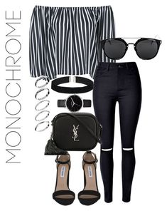 """#Monochrame"" by blendingtwostyles ❤ liked on Polyvore featuring Steve Madden, Topshop, WithChic, ASOS, Yves Saint Laurent, Nixon and monochrome"