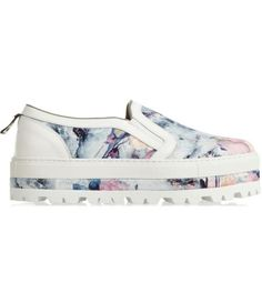 NET-A-PORTER - Floral-print twill slip-on sneakers