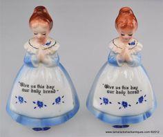 Lot of 2 Enesco Praying Girl Pepper Shakers Blue Dress Red Hair Japan VTG 7301 Aunt Lola