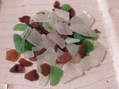 Genuine Frosty White Green Teal Brown Beach Glass Bulk 235 Gram