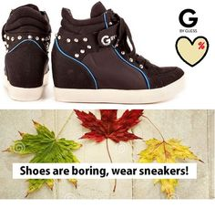 Shoes are boring wear sneakers, we love Guess, Betsey Johnson black #sneakers in #SALES!