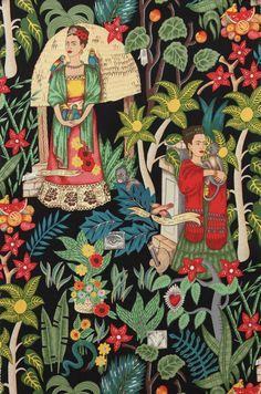 Alexander Henry - Frida's Garden - Frida Kahlo & Jungle Background on Black Fat Quarter -fabric
