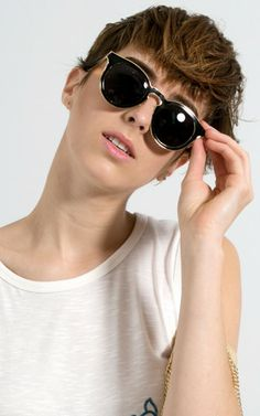 Metallic Trim Retro Circle Sunglasses