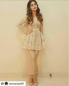 Pakistani couture peplum top and bootcut pants. Pakistani Fashion Casual, Pakistani Dresses Casual, Indian Fashion Dresses, Pakistani Dress Design, Indian Designer Outfits, Indian Outfits, Designer Dresses, Designer Clothing, Short Frocks