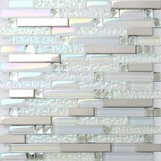 TST Glass Metal Tile Iridescent White Glass Silver Mirror Stainless Steel Blends Interlocking