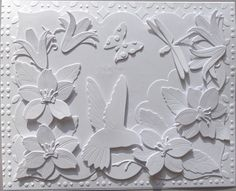 handmade greeting card: Hummingbird Gathering Nectar by Charminglycreative - at Splitcoaststampers . all white . Card Making, Bow Making, Climbing Vines, Wink Of Stella, Die Cut Cards, All White, How To Make Bows, Embossing Folder, Greeting Cards Handmade