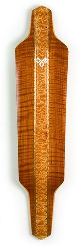 bozboards custom longboard skateboard handmade curly cherry exotic wood inlay gold leaf detail