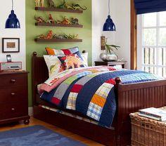 Cute and Colorful Little Boy Bedroom Ideas: Blue Patchwork Quilt Pendant Lit Boys Room ~ Kids Bedroom Inspiration