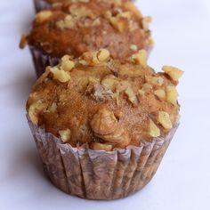 Eggless banana walnut muffins recipe banana nut muffins recipes in Eggless Recipes, Eggless Baking, Baking Recipes, Pudding Recipes, Sweets Recipes, Cupcake Recipes, Veggie Recipes, Banana Walnut Cake, Banana Nut Bread